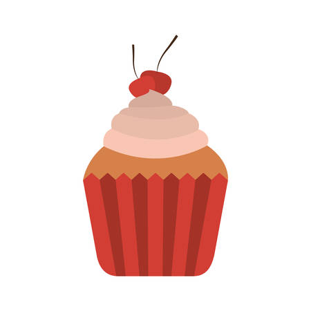sweet cupcake dessert with cherry decoration. vector illustration