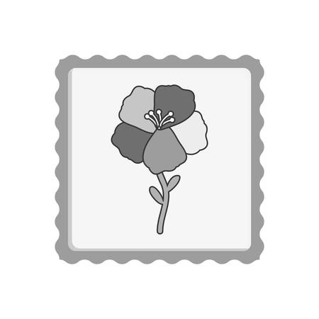 silhoutte: post stamp with beautiful natural flower icon inside silhoutte. vector illustration Illustration