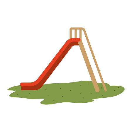 kids playground entertainment attraction slider with stairs over white background. vector illustration
