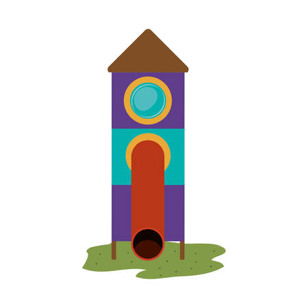 colorful slide: playground house of games kids entertainment attraction white slide over white background. vector illustration