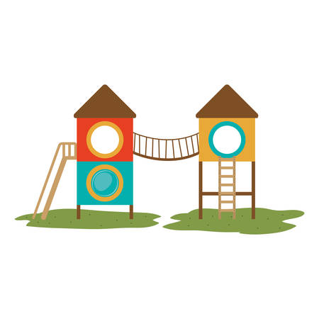 colorful slide: playground house of games kids entertainment attraction over white background. vector illustration Illustration