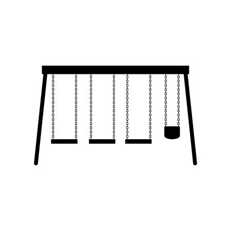 attraction: playground swings kids entertainment attraction over white background. vector illustration