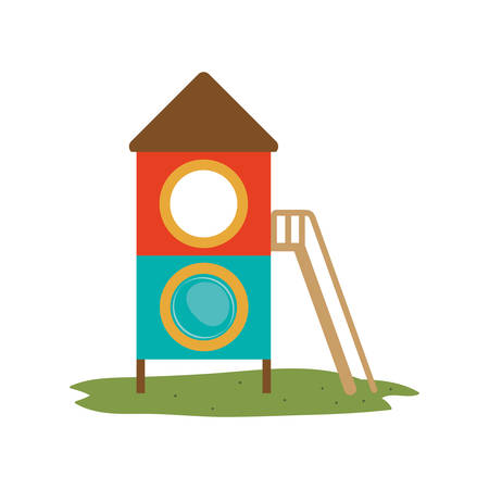 attraction: playground house of games kids entertainment attraction over white background. vector illustration Illustration