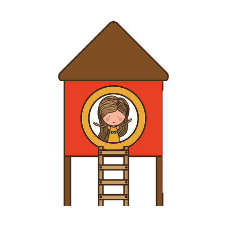 attraction: girl playing on playground house of games kids entertainment attraction over white background. vector illustration