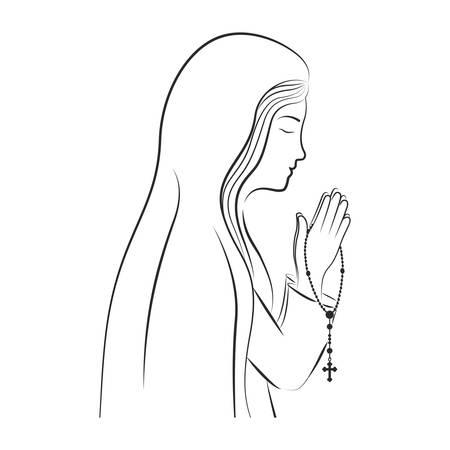 Jungfrau Maria. christentum Design auf weißem Hintergrund. Vektor-Illustration