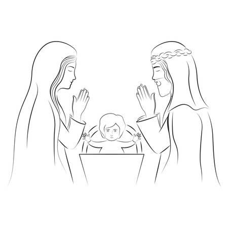 처녀 마리아와 성자 조셉기도. 흰색 배경 위에 기독교 디자인입니다. 벡터 일러스트 레이 션