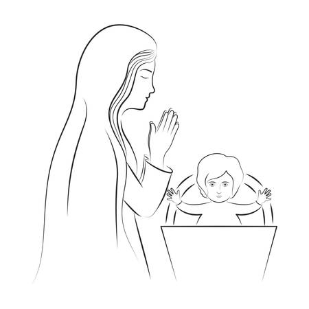 nativety: virgin mary and baby jesus. christianity design over white background. vector illustration