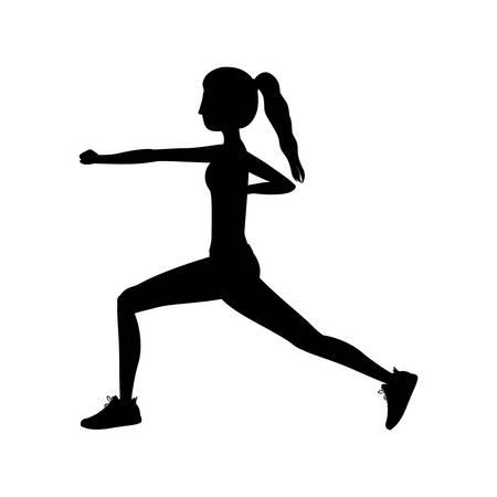 combative sport: silhouette woman martial arts fist vector illustration