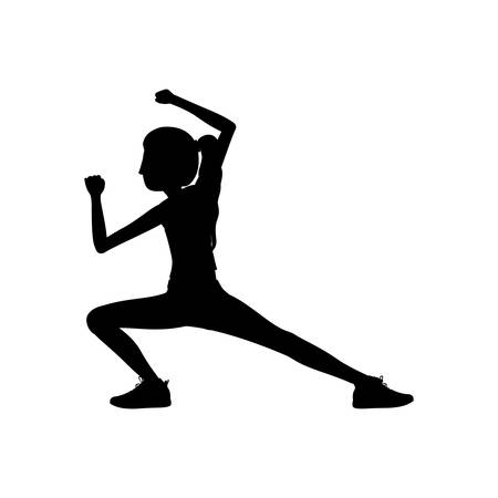 silhouette woman martial arts kick down vector illustration