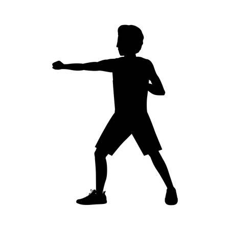 silhouette man martial arts defense position fist vector illustration Illustration