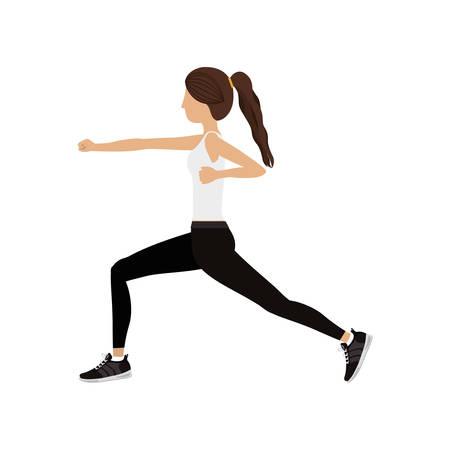 silhouette color woman martial arts fist vector illustration Illustration