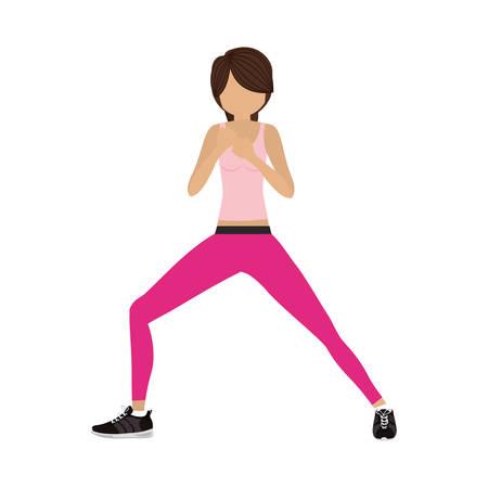 silhouette color woman martial arts front defense position vector illustration Illustration