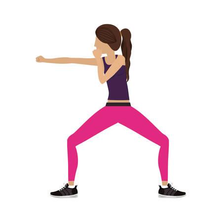 silhouette color woman martial arts defense position fist vector illustration