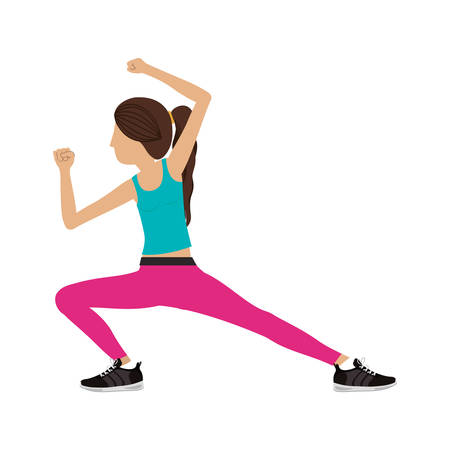 combative sport: silhouette color woman martial arts kick down vector illustration