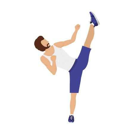 silhouette color man martial arts high kick vector illustration