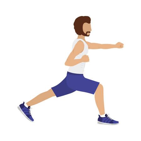 flex: silhouette color man martial arts flex leg with fist vector illustration Illustration