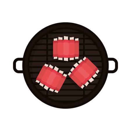 rib: food grilled with big rib vector illustration