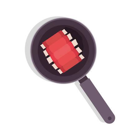 rib: food frying pan with rib vector illustration Illustration