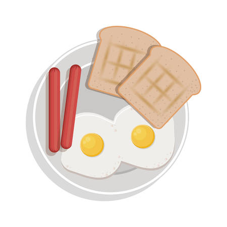 food plate: food plate with eggs bread sausace vector illustration Illustration