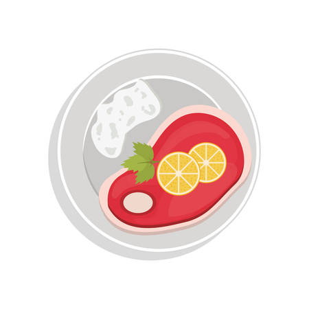 lemon slices: food plate with steak meat and lemon slices vector illustration Illustration