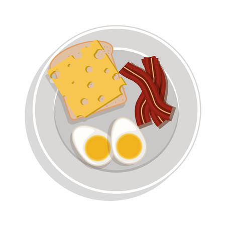 food plate: food plate with eggs cheese and bacon vector illustration Illustration