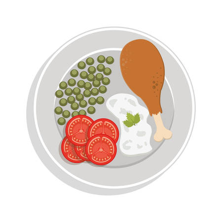 thigh: food plate chicken thigh with peas sliced tomato rice vector illustration