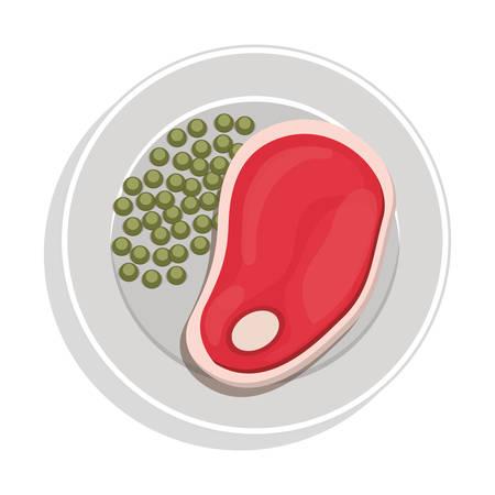 food plate: food plate with steak green peas vector illustration Illustration