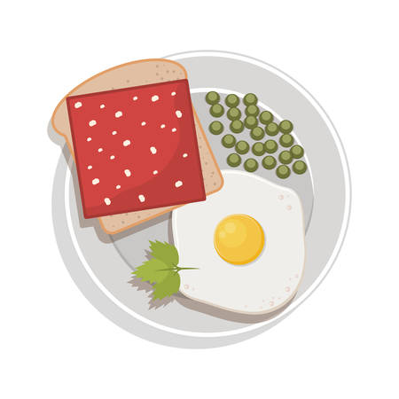 green peas: food plate with egg green peas bread ham Illustration