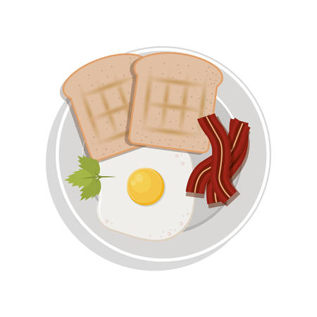 food plate: food plate with egg bread bacon cilantro leaf vector illustration Illustration