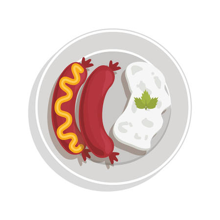 food plate: food plate with sausaces and rice vector illustration