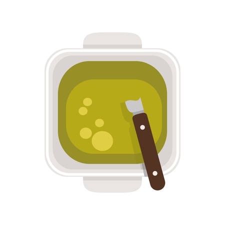 food plate: food plate with Green Sauce vector illustration Illustration