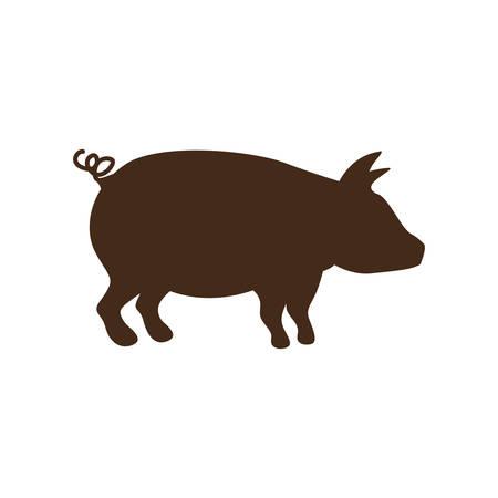 Silueta de color marrón con ilustración vectorial de cerdo Foto de archivo - 64462506