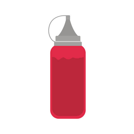 ketchup: silhouette color with bottle ketchup vector illustration