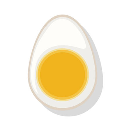 boiled egg: silhouette color with half boiled egg vector illustration