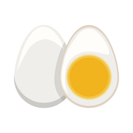boiled: silhouette color boiled egg and half boiled egg vector illustration