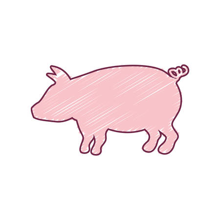 strokes: silhouette pig with color strokes vector illustration Illustration