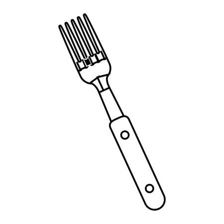 silhouette black with fork bbq vector illustration Illustration