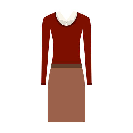 white blouse: brown skirt and white blouse with red sweater. executive women clothes design. vector illustration Illustration