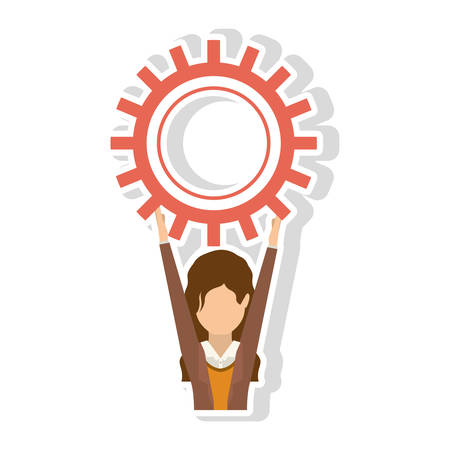 woman arms up: avatar female woman wearing executive clothes with arms up holding a gear wheel over white background. vector illustration