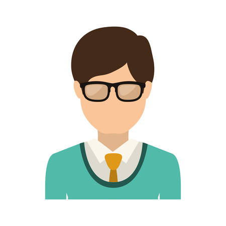 half body man with formal suit and glasses vector illustration