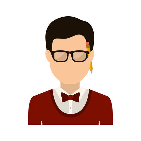 mister: half body man with formal suit and pencil vector illustration Illustration