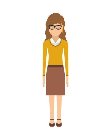 yellow jacket: woman with wave hair and skirt vector illustration Illustration