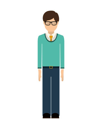 his shirt sleeves: man wearing formal suit with tie and glasses vector illustration