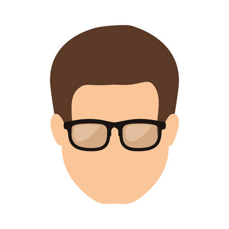brown hair: front face man with brown hair vector illustration