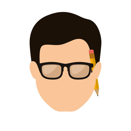 fellows: front face man with black hair and pencil vector illustration