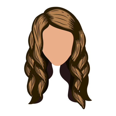 light brown: silhouette front face with wavy light brown hair vector illustration