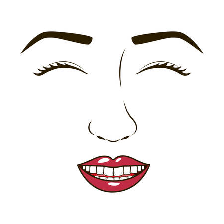 eyesclosed: woman face with eyesclosed and smiling vector illustration