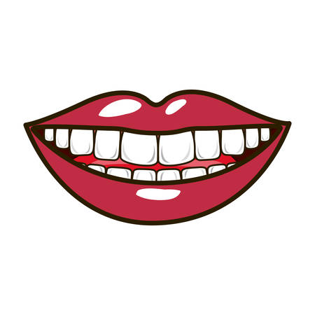teeths: silhouette smiling lips with teeths and tongue vector illustration