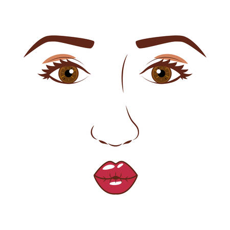 eyesclosed: woman face with open eyes and giving a kiss vector illustration