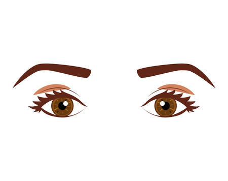 Womans look with eyes cafes expressive vector illustration